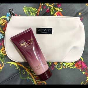 Brand NEW Jimmy Choo Fever lotion with make up bag